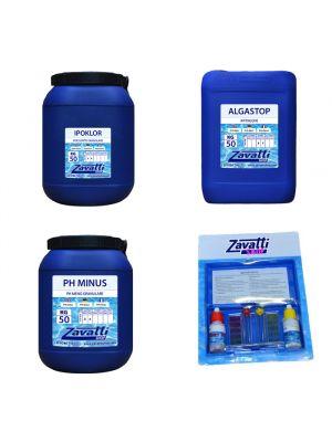 Kit Calcium 150 kg: 50 kg Ipoklor + 50 lt Algastop + 50 kg Ph Minus + Test Kit omaggio