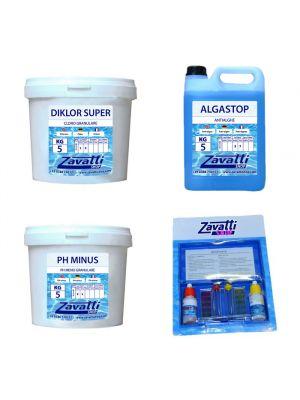 Kit Standard 15 kg: 5 kg Diklor + 5 lt Algastop + 5 kg Ph Minus + Test Kit omaggio