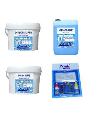Kit Standard 30 kg: 10 kg Diklor + 10 lt Algastop + 10 kg Ph Minus + Test kit omaggio