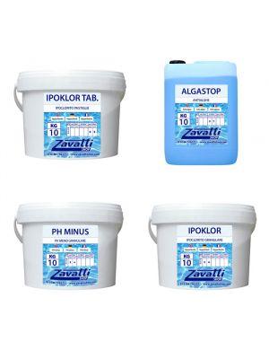 Summer Kit Calcium: 10 kg Ipoklor + 10 kg Ph Minus + 10 lt Algastop + 10 kg Ipoklor Tab