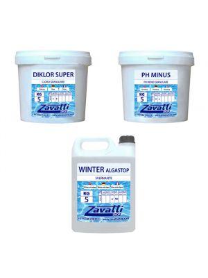 Kit Winter 15 kg: 5 kg Diklor Super + 5 kg Ph Minus + 5 lt Winter Algastop