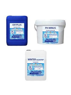 Kit Winter No-Klor 30 kg: 10 kg Oxyplus + 10 kg Ph Minus + 10 lt Winter Algastop