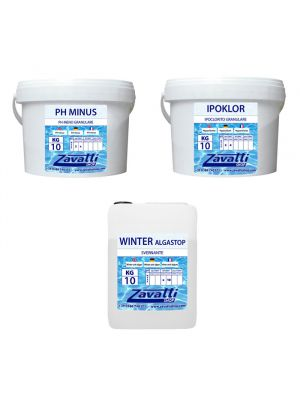 Kit Winter Calcium 30 kg: 10 kg Ipoklor + 10 kg Ph Minus + 10 lt Winter Algastop