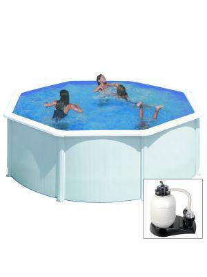 FIDJI - Ø 240 x h120 cm - filtro SABBIA - piscina fuoriterra rigida in acciaio colore bianco Dream Pool - Grè