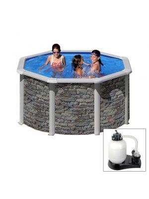 CERDEÑA Ø 240 x h 120 - filtro SABBIA - Piscina fuoriterra rigida in acciaio fantasia pietra Dream Pool - Grè