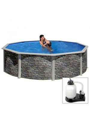 CERDEÑA Ø 460 x h 120 - filtro SABBIA - Piscina fuoriterra rigida in acciaio fantasia pietra Dream Pool - Grè