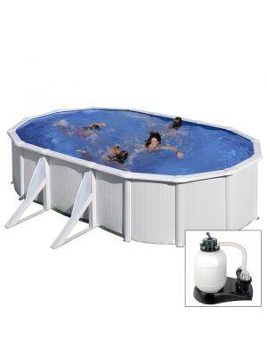 FIDJI - 610 x 375 x h120 cm - filtro SABBIA - piscina fuoriterra rigida in acciaio colore bianco Dream Pool - Grè