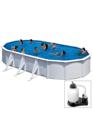 FIDJI - 800 x 470 x h120 cm - filtro SABBIA - piscina fuoriterra rigida in acciaio colore bianco Dream Pool - Grè