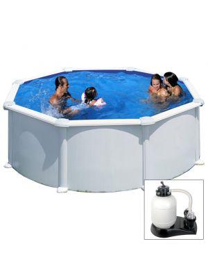 ATLANTIS - Ø 350 x h132 cm - filtro SABBIA - piscina fuoriterra rigida in acciaio colore bianco Dream Pool - Grè