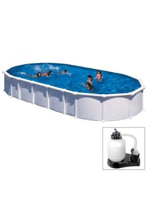 HAITI - 1000 x 550 x h 132 cm - filtro SABBIA - piscina fuoriterra rigida in acciaio colore bianco - Grè