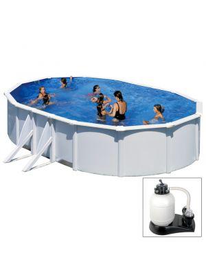 ATLANTIS - 610 x 375 x h132 cm - filtro SABBIA - piscina fuoriterra rigida in acciaio colore bianco Dream Pool - Grè