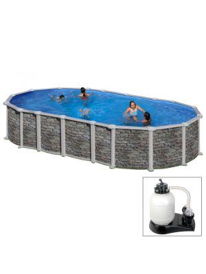 SANTORINI 610 x 375 x h 132 - filtro SABBIA - Piscina fuoriterra rigida in acciaio fantasia pietra Dream Pool - Grè