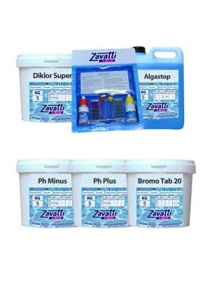Kit Spa / Hidro: 5 kg Diklor + 5 kg Ph Minus + 5 kg Ph Plus + 5 lt Algastop + 5 kg Bromine + Test-Kit Ph/Bromo