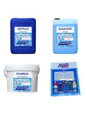 Kit No-Klor 30 kg: 10 kg Oxyplus + 10 lt Algastop + 10 kg Ph Minus + Test Kit omaggio