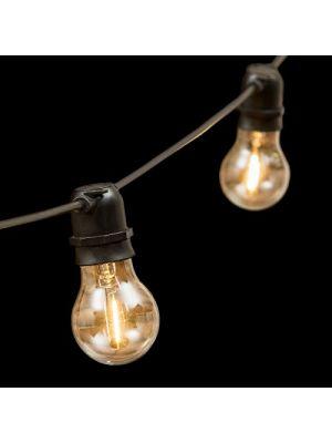 Catena 5 m, 10 lampadine e27 ø6 cm, prolungabile, led bianco caldo