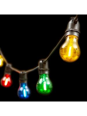 Catena 5 m, 10 lampadine e27 ø6 cm, prolungabile, led multicolor