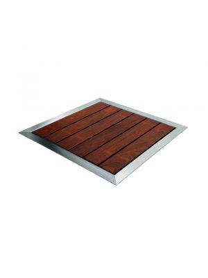 Piatto doccia misto legno e acciaio per docce serie Pluvium - Astralpool