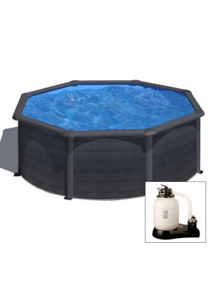 KEA Ø 460 x h 120 - filtro SABBIA - Piscina fuoriterra rigida in acciaio fantasia GRAFITE Dream Pool - Grè
