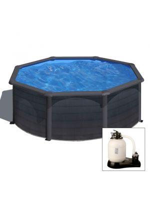 GRANADA Ø 350 x h 132 - filtro SABBIA - Piscina fuoriterra rigida in acciaio fantasia GRAFITE Dream Pool - Grè