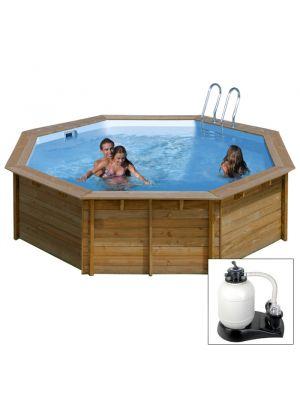 VIOLETTE ø 460 x h 121 - filtro SABBIA - piscina fuori terra in legno sistema omega - Gré