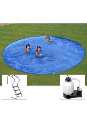 Piscina PLUS da interrare Ø 420 x h 150 - filtro SABBIA - rigida in acciaio In Ground Pool - Grè