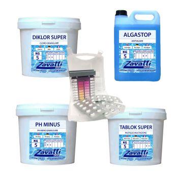 Summer Kit Plus: 5 kg Diklor + 5 kg Ph Minus + 5 lt Algastop + 5 kg Tablok Super + test kit pastiglie