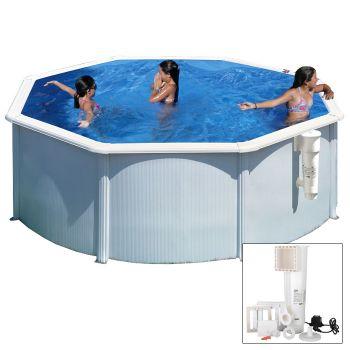 BORA BORA - Ø 300 x h120 cm - filtro CARTUCCIA - Piscina fuoriterra rigida in acciaio colore bianco Dream Pool - Grè