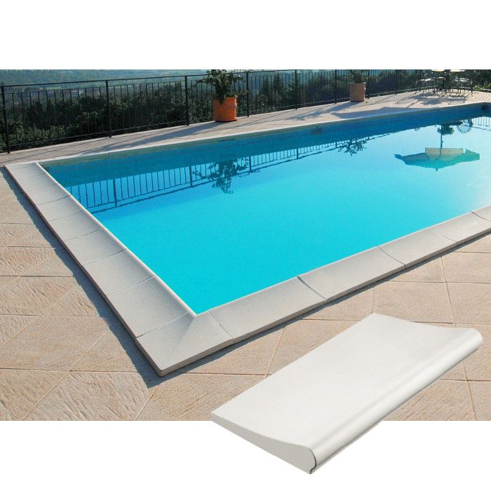 Kit Bordi Standard Bianco Liscio Per Piscina Interrata 8 X 4 M