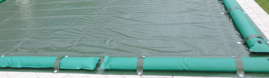 Copertura invernali su misura per piscina, con tubolari e fasce antiribaltamento