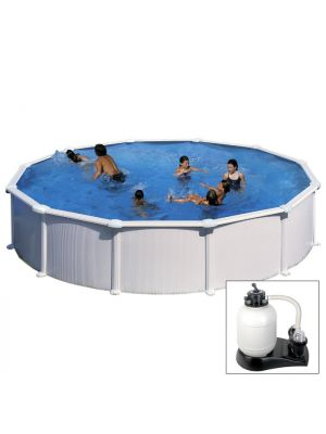 ATLANTIS - Ø 550 x h132 cm - filtro SABBIA - piscina fuoriterra rigida in acciaio colore bianco Dream Pool - Grè