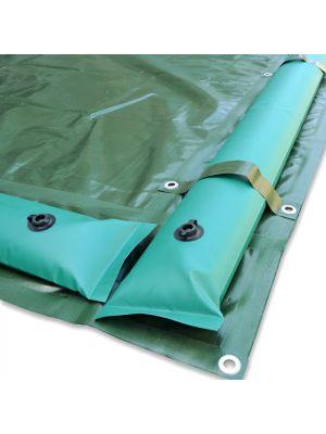 Copertura invernale 8 x 13,5 m per piscina 6 x 12 m - con tubolari perimetrali e fasce antiribaltamento