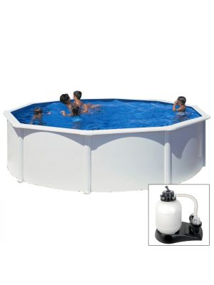 FIDJI - Ø 350 x h120 cm - filtro SABBIA - piscina fuoriterra rigida in acciaio colore bianco Dream Pool - Grè