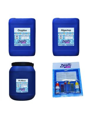 Kit No-Klor 150 kg: 50 kg Oxyplus + 50 lt Algastop + 50 kg Ph Minus + test kit omaggio