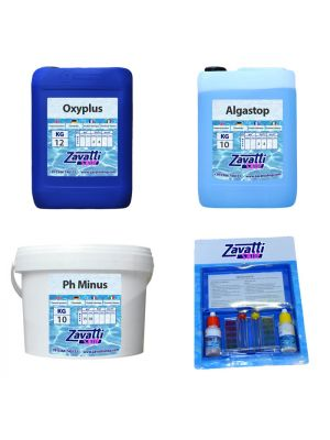 Kit No-Klor 30 kg: 10 kg Oxyplus + 10 lt Algastop + 10 kg Ph Minus + Test Kit omaggio