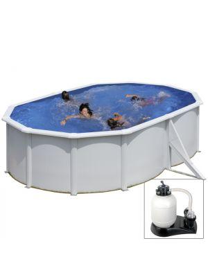 FIDJI - 500 x 350 x h120 cm - filtro SABBIA - piscina fuoriterra rigida in acciaio colore bianco Dream Pool - Grè