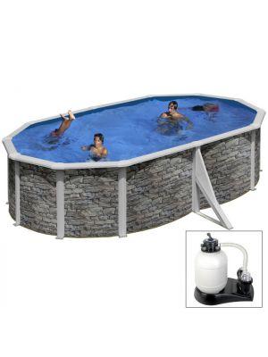 CERDEÑA 500 x 350 x h 120 - filtro SABBIA - Piscina fuoriterra rigida in acciaio fantasia pietra Dream Pool - Grè