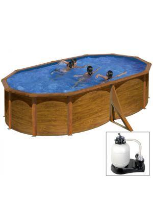 PACIFIC 500 x 350 x h 120 - filtro SABBIA - Piscina fuoriterra rigida in acciaio fantasia legno Dream Pool - Grè