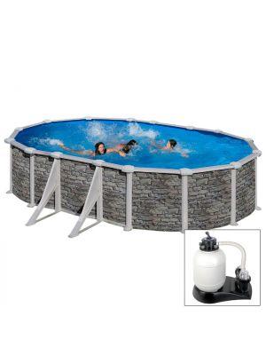 CERDEÑA 610 x 375 x h 120 - filtro SABBIA - Piscina fuoriterra rigida in acciaio fantasia pietra Dream Pool - Grè