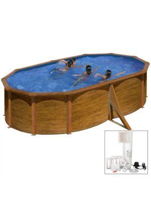 SICILIA 500 x 350 x h 120 - filtro cartuccia - Piscina fuoriterra rigida in acciaio fantasia legno Dream Pool - Grè