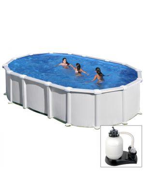 HAITI - 610 x 375 x h 132 cm - filtro SABBIA - piscina fuoriterra rigida in acciaio colore bianco - Grè
