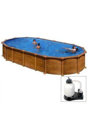 AMAZONIA 610 x 375 x h 132 - filtro SABBIA - Piscina fuoriterra rigida in acciaio fantasia legno Dream Pool - Grè