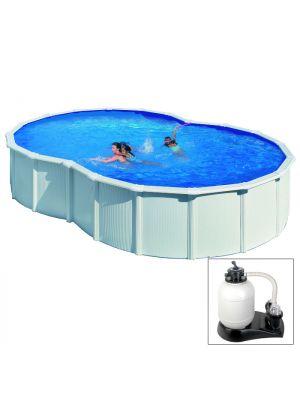 VARADERO - 710 x 475 x h120 cm - filtro SABBIA - piscina fuoriterra rigida in acciaio colore bianco Dream Pool - Grè
