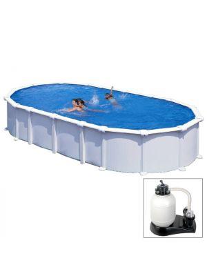 HAITI - 730 x 375 x h 132 cm - filtro SABBIA - piscina fuoriterra rigida in acciaio colore bianco - Grè