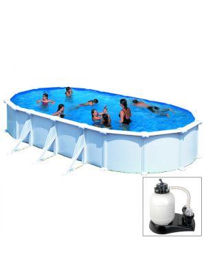 ATLANTIS - 800 x 470 x h132 cm - filtro SABBIA - piscina fuoriterra rigida in acciaio colore bianco Dream Pool - Grè