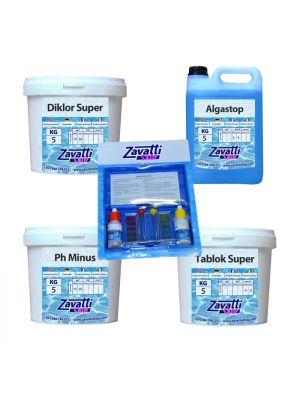 Summer Kit Plus: 5 kg Diklor + 5 kg Ph Minus + 5 lt Algastop + 5 kg Tablok Super + test kit