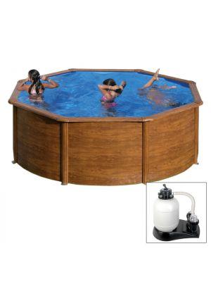 MAURITIUS Ø 350 x h 132 - filtro SABBIA - Piscina fuoriterra rigida in acciaio fantasia legno Dream Pool - Grè