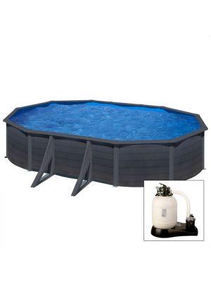 GRANADA 500 x 300 x h 132 - filtro SABBIA - Piscina fuoriterra rigida in acciaio fantasia GRAFITE Dream Pool - Grè
