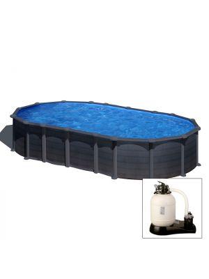 CAPRI 730 x 375 x h 132 - filtro SABBIA - Piscina fuoriterra rigida in acciaio fantasia GRAFITE Dream Pool - Grè