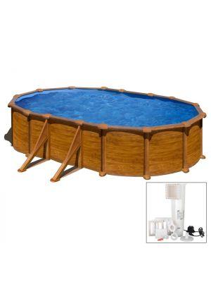 MALDIVAS 500 x 300 x h 132 - filtro CARTUCCIA - Piscina fuoriterra rigida in acciaio fantasia legno Dream Pool - Grè