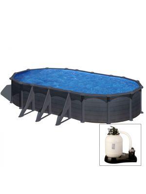 KEA 730 x 375 x h 120 - filtro SABBIA - Piscina fuoriterra rigida in acciaio fantasia GRAFITE Dream Pool - Grè